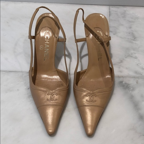 ec765060e2 CHANEL Shoes - Chanel - Vintage Slingback Shoes (Beige/Cream)